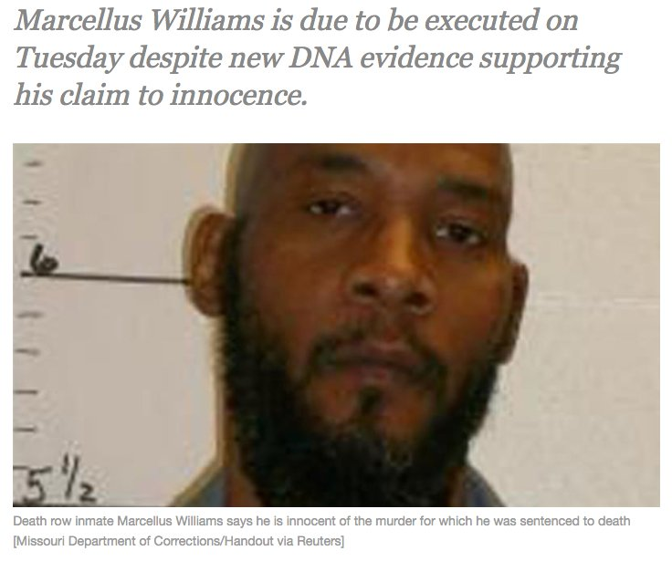New DNA evidence says Marcellus Williams is innocent. The US state of Missouri will execute him tonight anyway. http://bit.ly/2imKK2z