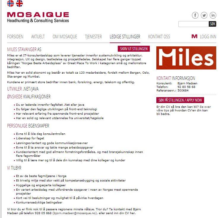 Mosaique Headhunting On Twitter Jobb Miles Utvikler Net Java