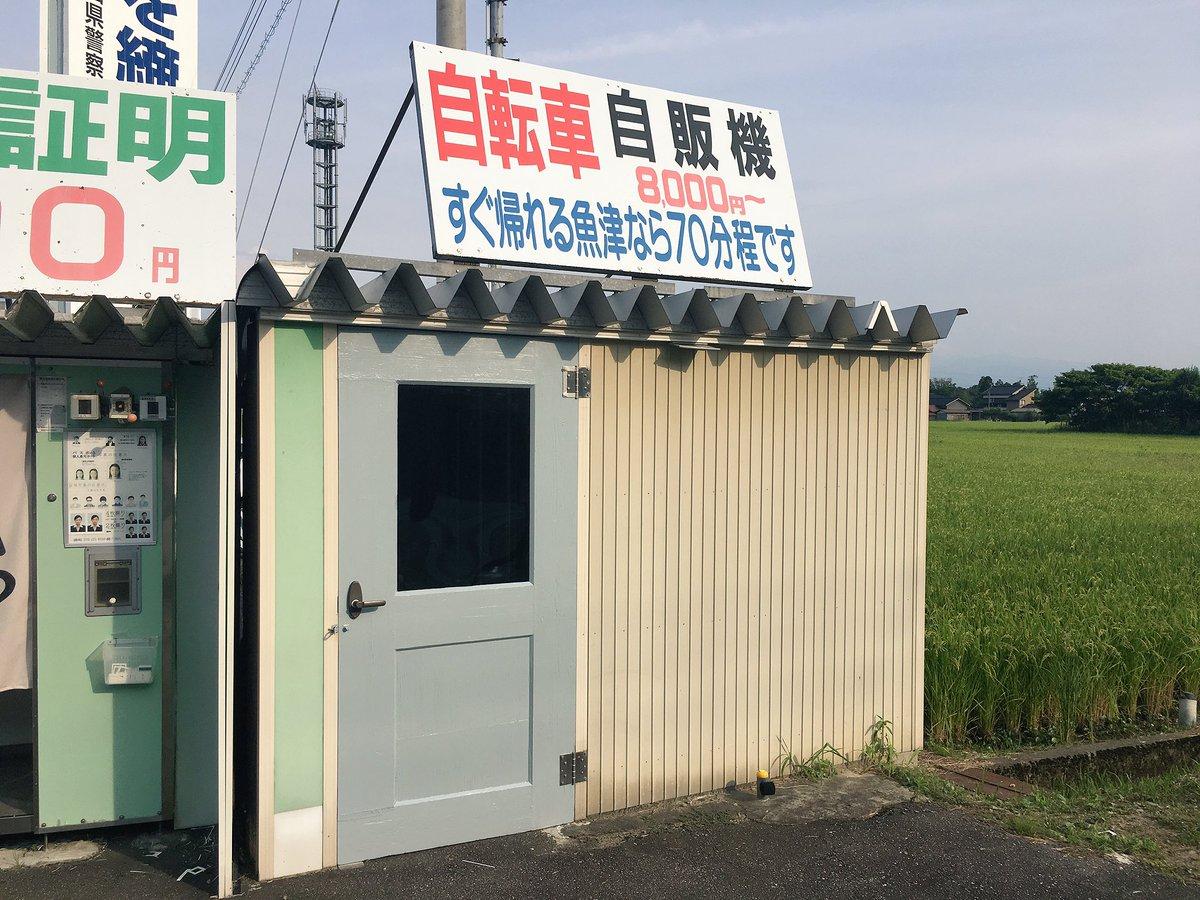 富山の免許センターの前に「自転車自販機」があって「え?」と思って入ってみたら本当に自転車の自販機だった。