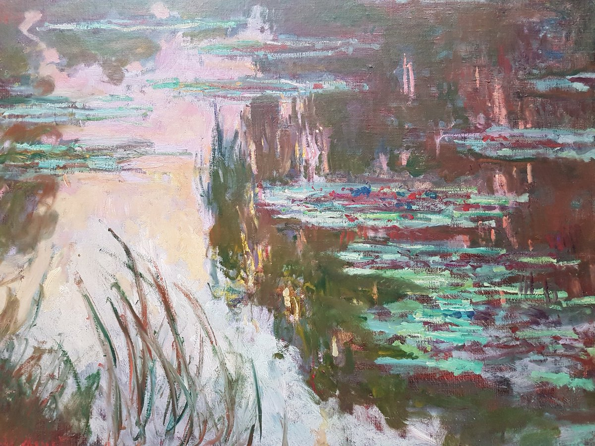 &#39;Water-Lilies, Setting Sun&#39;, about 1907, by Claude #Monet (1840-1926) #NationalGallery #London #art #impressionism<br>http://pic.twitter.com/3JPWKXN9eO