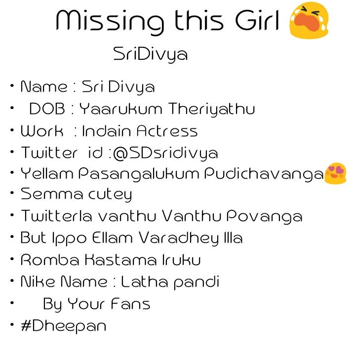 Sri Divya on Twitter: