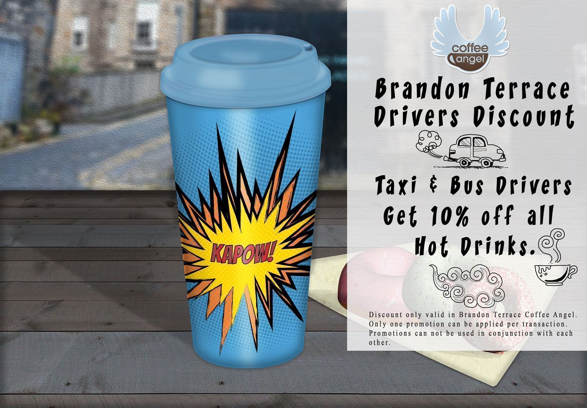 Brandon Terrace Discount. Taxi &amp; Bus Drivers get 10% off hot drinks.   https:// buff.ly/2xmbDGN  &nbsp;     #Edinburgh #discounted <br>http://pic.twitter.com/UTuPg7TkaA