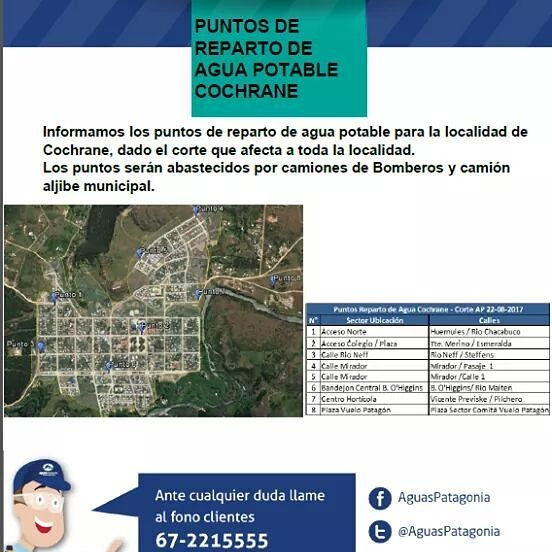 RT @AYSEN_INFORMA Aguas Patagonia de Aysén. S.A., informa puntos de reparto de agua potable en #Cochrane  #Aysén @Radio45Sur @reddeemergencia @Ventisqueros