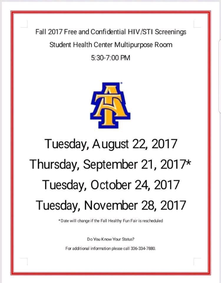 Start your semester off by knowing your status! Come out and get tested today at the Student Health Center #NCAT
