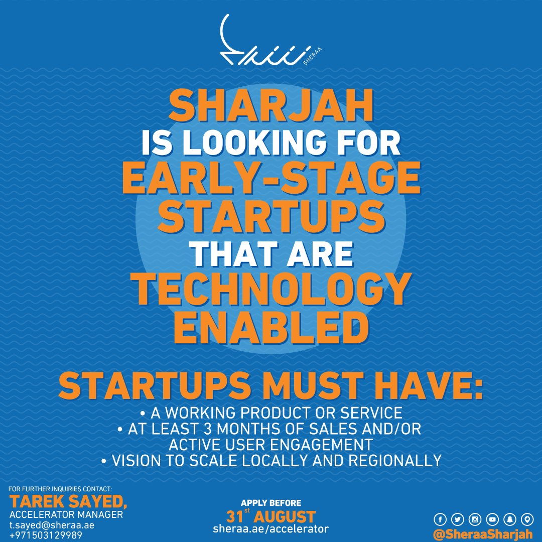 Accelerator applications are still open for early stage, tech-enabled startups! Sign up now:  http:// sheraa.ae/accelerator  &nbsp;     #accelerator #tech<br>http://pic.twitter.com/jzmyRYzdZG