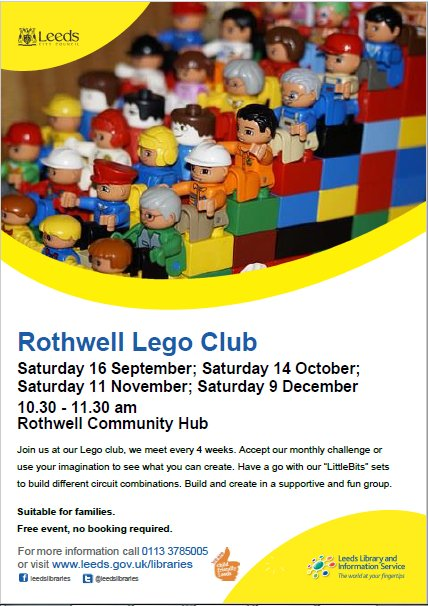 Saturday is Lego day! @RothwellHub on Sat 16th Sept at 10.30-11.30 every 4 weeks, come and join in the fun, no booking #LEGO #kids #event <br>http://pic.twitter.com/FDetvIdaJ7