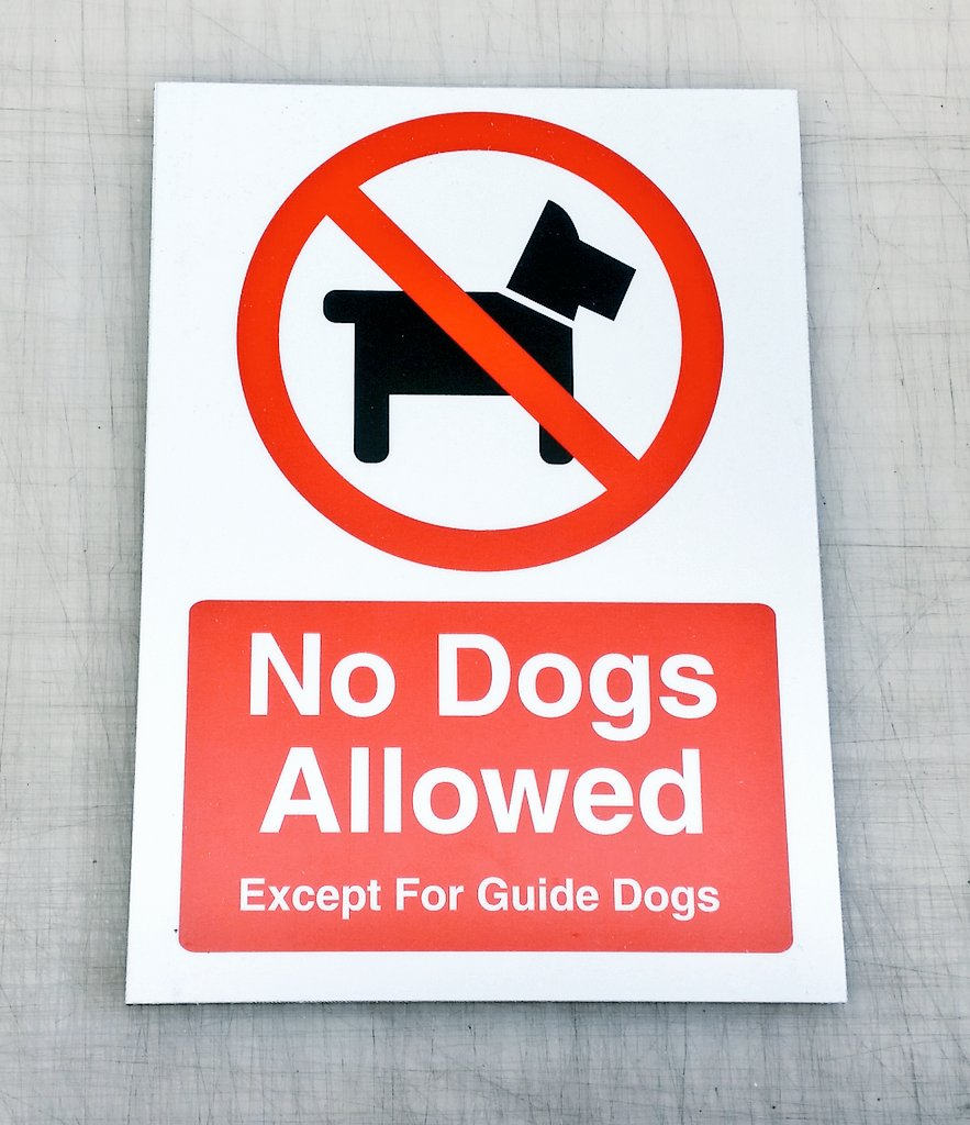 No dogs allowed signs available here:  http://www. ebay.co.uk/itm/No-Dogs-Al lowed-Except-For-Guide-Dogs-Sign-21cm-x-15cm-to-60cm-x-40cm-sizes-/252604628144?var=&amp;hash=item3ad068bcb0:m:mZb_2Mrmg1chUFNNJGhpjyw &nbsp; …  #shop #retail #signage #quality #bizitalk #atsopro #uksopro #uksmallbiz<br>http://pic.twitter.com/A63sgOyroe