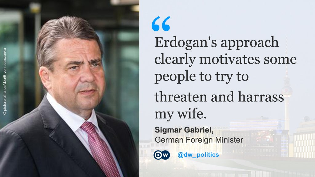 German Foreign Minister #Gabriel blames #Turkey&#39;s President Erdogan for threats against his wife at the dental surgery where she works.<br>http://pic.twitter.com/EiLJEkpcld