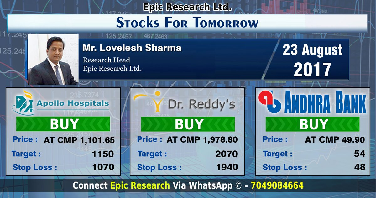 #Stocks for Tomorrow (23 August 2017) Buy #ApolloHospitals , Buy #DrReddy , Buy  #AndhraBank  #EpicResearch -  http:// goo.gl/tnNd6t  &nbsp;  <br>http://pic.twitter.com/Q2UgpSWsh8