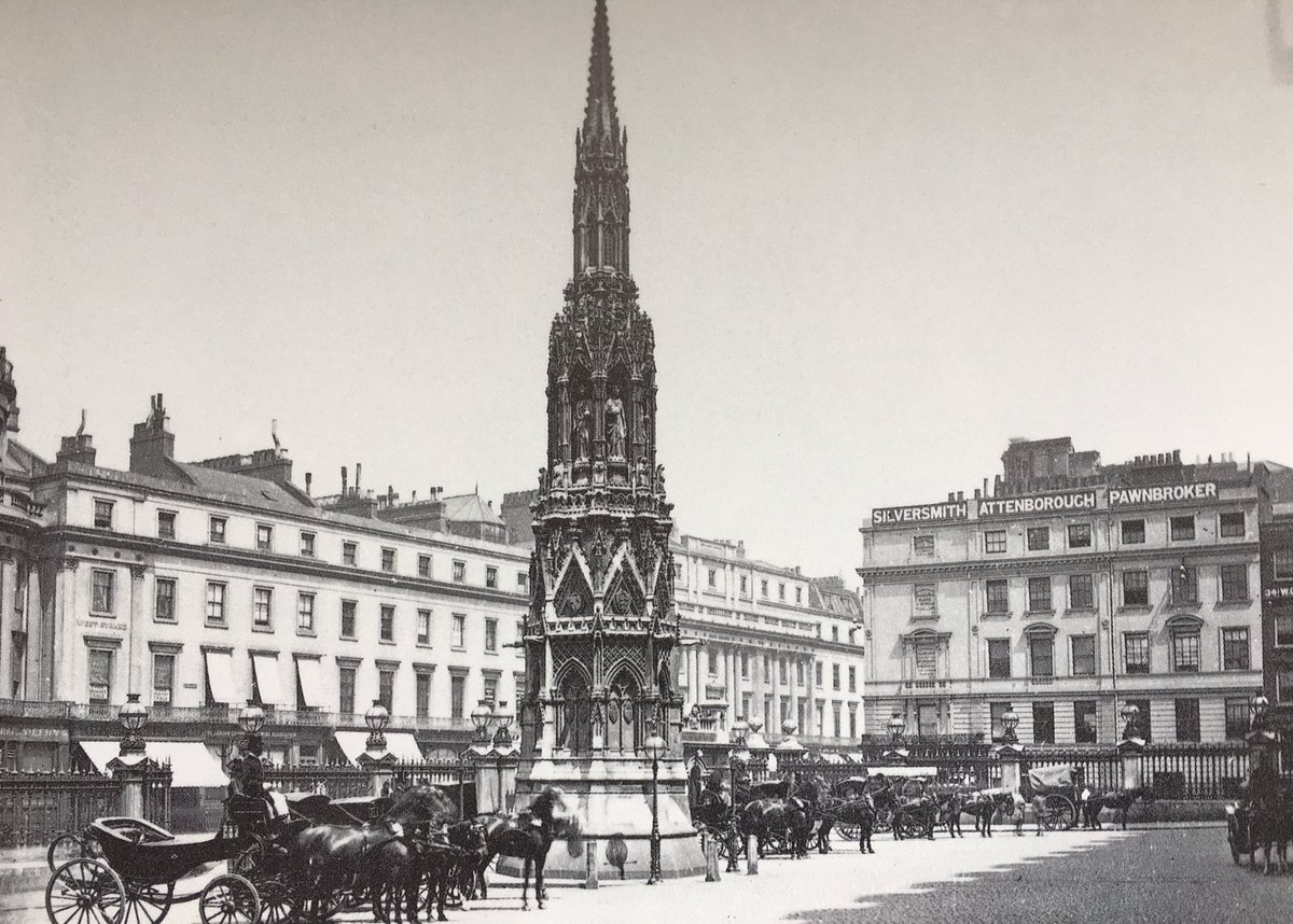Charing Eleanor Cross replica 1863 (p/card1892) &amp; now. 12 crosses mark the resting places of the cortege of Edward I&#39;s Queen to #London 1290 <br>http://pic.twitter.com/DWAHl6H20d