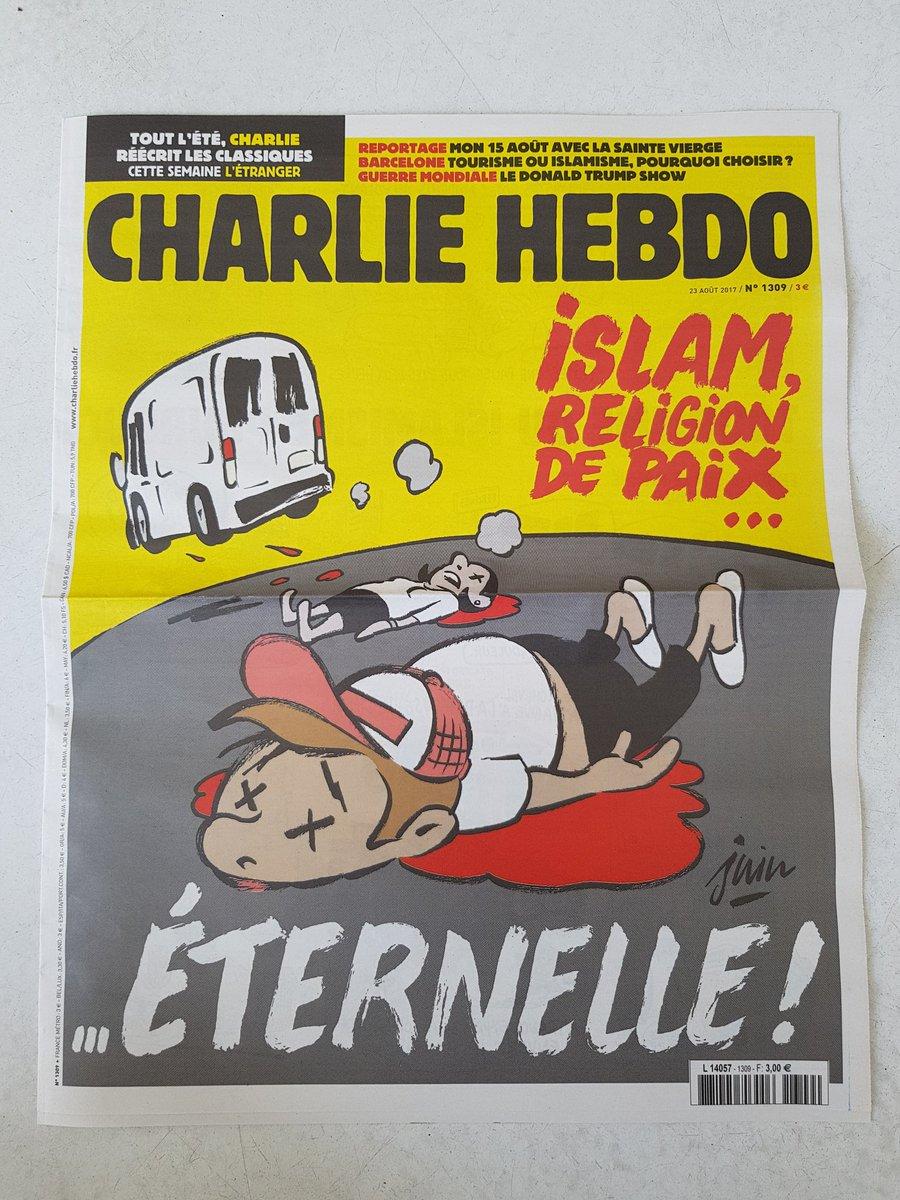 #Barcelone en Une de @Charlie_Hebdo_ avec un dessin signé Juin , demain en kiosques