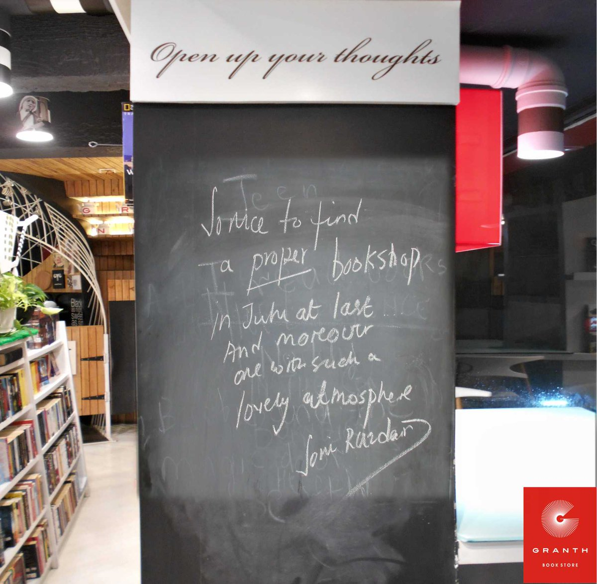Celebrity @Soni_Razdan  left this testimonial at #Granth back in time. We are walking down the memory lane today! #bookstore #books #words<br>http://pic.twitter.com/lQE5hcPyFe