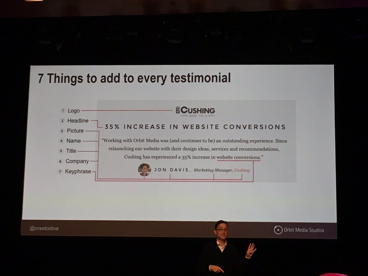 """When you say it, it's marketing. When they say it, it's social proof."" - @crestodina #conex17 https://t.co/KMUM4xyf49"