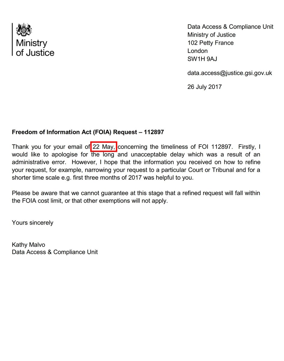 .@MoJGovUK @HMCTSgovuk delayed #FOI request from May 2017 on @JudiciaryUK recusals. @ICOnews asked to act on #transparency failures <br>http://pic.twitter.com/EPVyNPKsaZ