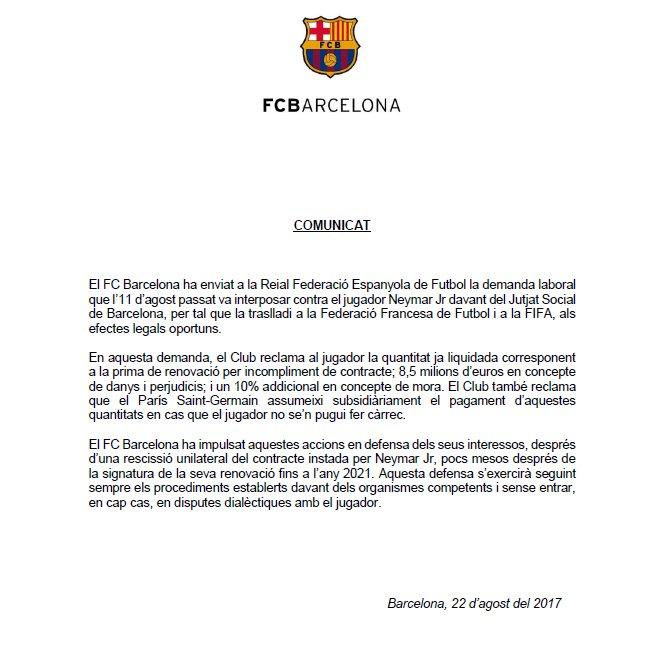 Demanda al Barcelona ante FIFA — Neymar responde