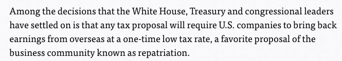 Unsurprisingly, Trump wants a tax repatriation holiday, which is one of the worst & most wasteful policies there is https://t.co/HNWK5qrGxL