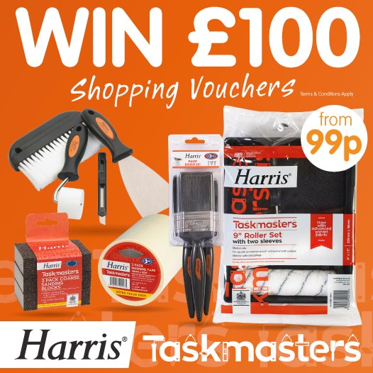 #COMPETITION! FLW/RT for a chance to #WIN a £100 B&amp;M Shopping Voucher thanks to @Harrisbrushes! Decorate the #EASYWAY. Ends 08:00 28/08/17<br>http://pic.twitter.com/aA97kJI31x
