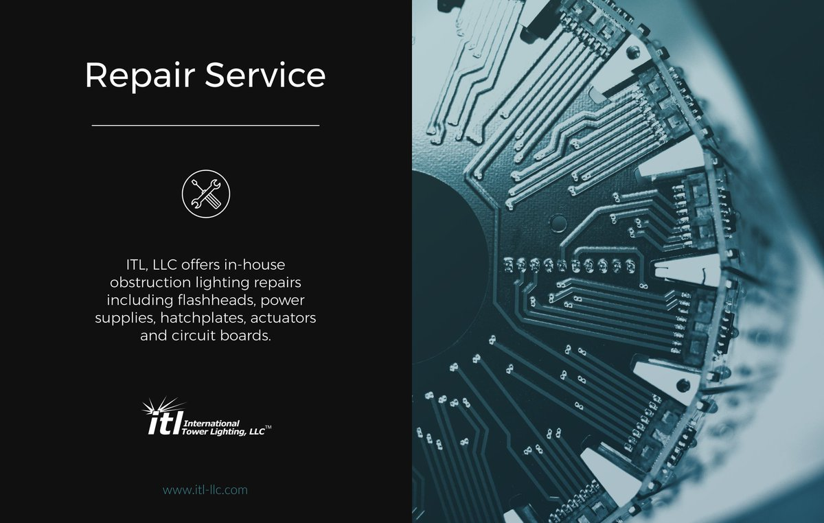 ITL offers in-house #obstructionlighting repairs including flashheads, power supplies, hatchplates, actuators and circuit boards. #Wireless <br>http://pic.twitter.com/QMsYMZDQU0