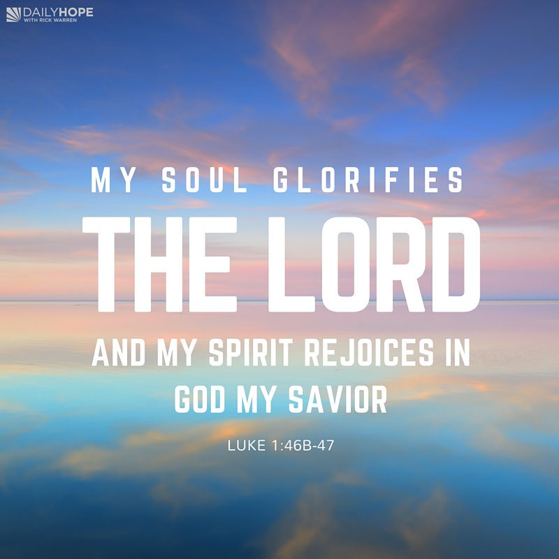 Luke 1:46 - My soul glorifies the Lord and my spirit rejoices in God my savior. #BibleQuotes #Faith <br>http://pic.twitter.com/uRdFOX46R4