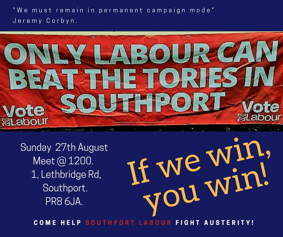 We are out again this Sunday. Join us &amp; fight austerity and fight for #Southport. Come canvassing &amp; help put the wind in our sails! <br>http://pic.twitter.com/4GoQliIlFz