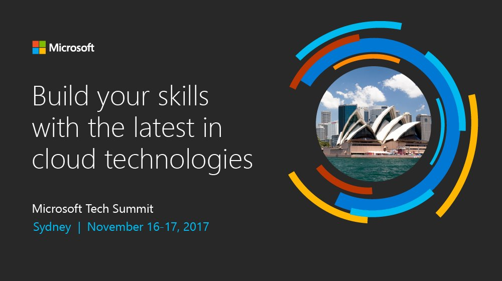 Build your #cloud skills with #Microsoft experts! Join us at #MSTechSummit in Sydney on 11/16-17:  http:// msft.social/BZYB3D  &nbsp;  <br>http://pic.twitter.com/7iyTonE6Pn
