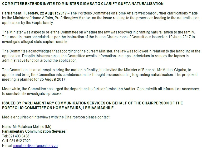Parliament Of Rsa On Twitter Committee Extends Invite To Minister