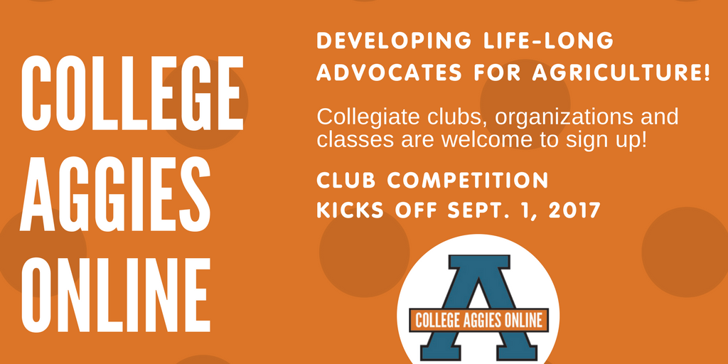 Attn collegiate clubs! Want to win $$ and become confident ag communicators? Sign up for @AggiesOnline!  http:// bit.ly/2sYNiVS  &nbsp;   #CAO17 <br>http://pic.twitter.com/9n1o0BA6m1