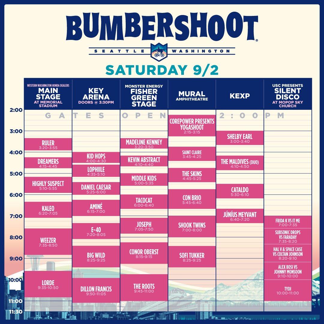 Bumbershoot Saturday2017 Set Times