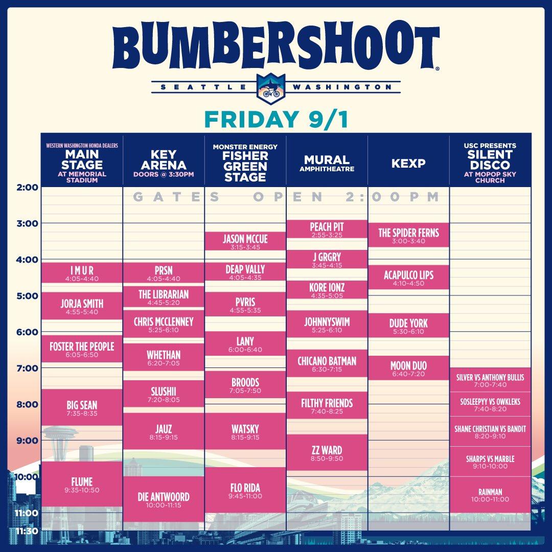 Bumbershoot Friday 2017 Set Times