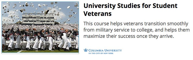 #CVTI is proud &amp; excited to launch our first #MOOC on @edXOnline! &quot;University Studies for Student #Veterans&quot; - 09/06  https://www. edx.org/course/univers ity-studies-student-veterans-columbiax-ussv101x &nbsp; … <br>http://pic.twitter.com/wQvgG6E6zF