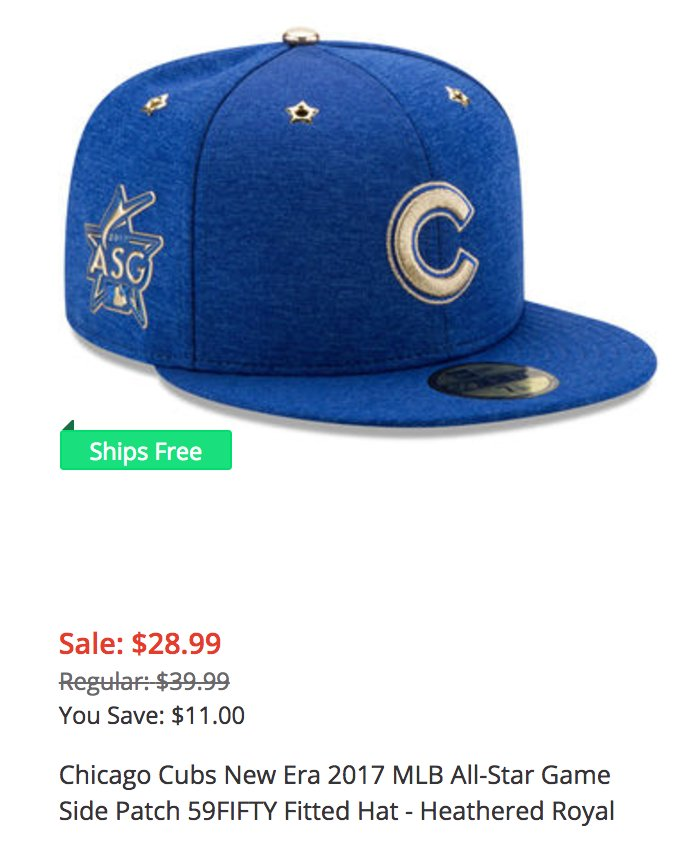 8b7ee283c4a I knew the Cubs 2017 All-Star cap would soon go on a big sale bc they had  just one AS. Too bad