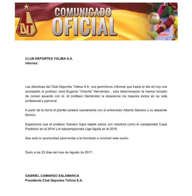Se va Hernández vuelve Alberto Gamero, mañana detalles de lo que pasa en @cdtolima 7am en @KickOffWIN @WinSportsTV https://t.co/pPUGooXhbx