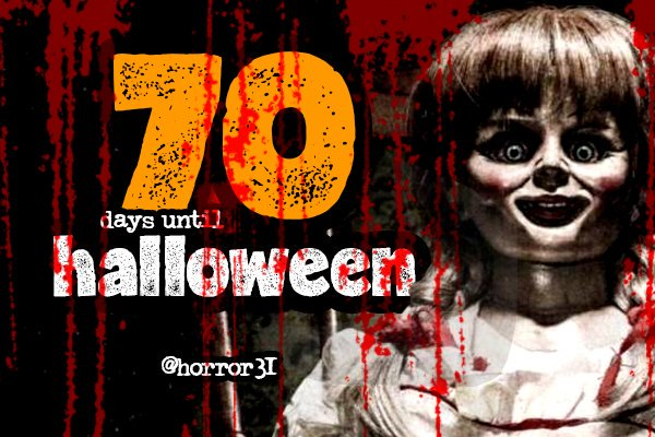 Only 70 days to go until Halloween 2017!  #Horror31 #Halloween <br>http://pic.twitter.com/UfNxrniTNQ