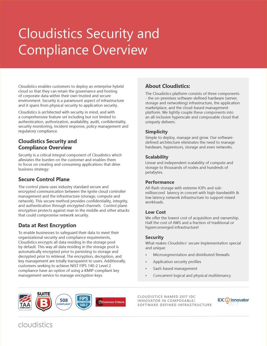 Datasheet: Cloudistics Security and Compliance Overview  https:// buff.ly/2xp8k1o  &nbsp;    #hyperconvergence #cloud #onprem #ITinfrastructure<br>http://pic.twitter.com/XAS3igYLZ9