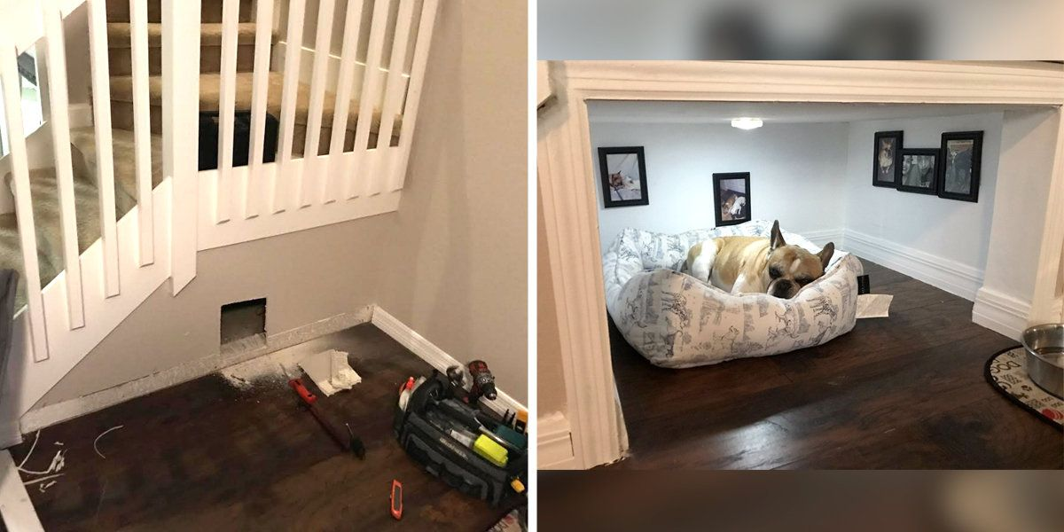 Dog's dad builds a tiny room under the stairs just for him https://t.co/epipK9XAMA