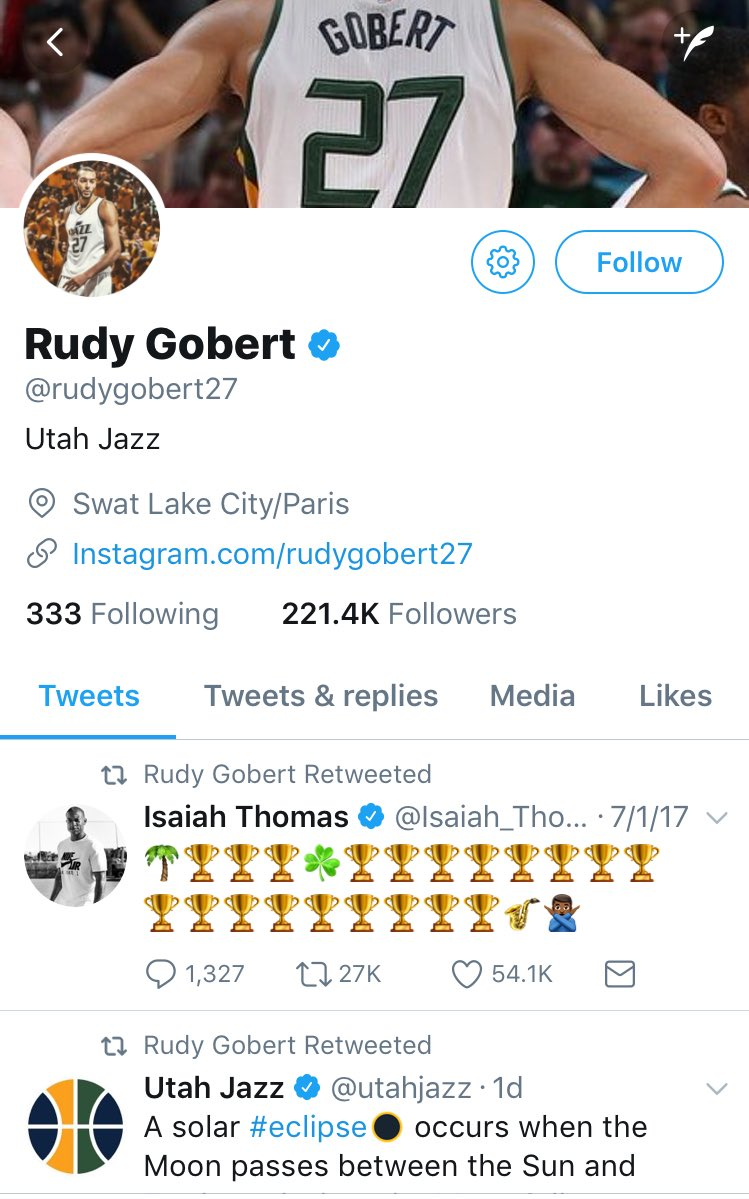 Rudy Gobert just retweeted Isaiah Thomas' tweet recruiting Hayward to Boston.  The NBA is the greatest league in the planet. Period.