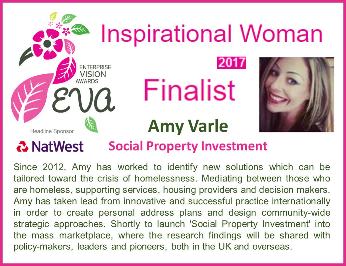 Proud to be nominated for #Inspirational #Woman of the Year @ #Enterprise Vision #Awards f/ Services to #Homeless:  https:// goo.gl/GiKkTG  &nbsp;  <br>http://pic.twitter.com/qqoXaePFpL
