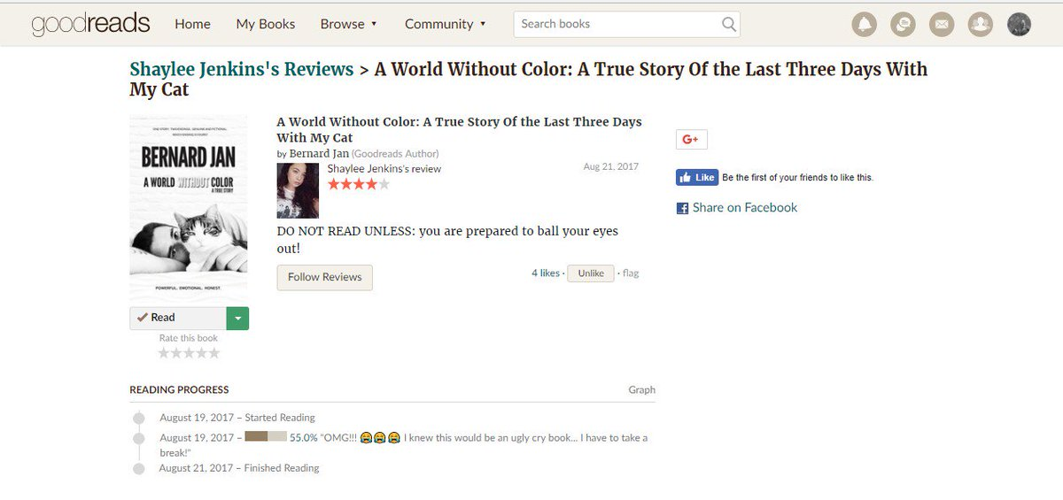 A new @goodreads  #REVIEW for #AWorldWithoutColor! Thank you for your love, Shaylee!  @shayydeniece   http:// amzn.to/2tGlbKB  &nbsp;  <br>http://pic.twitter.com/OAyoHeT9A7