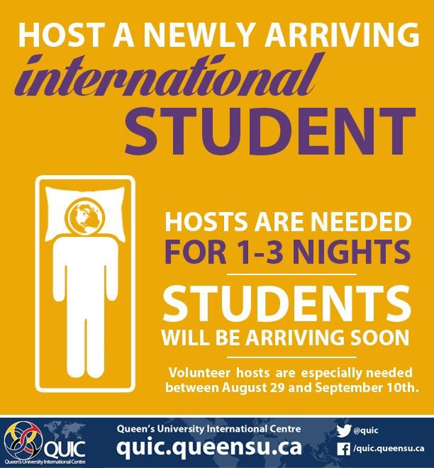 Calling on our #ygk @queensualumni: do you have a spare room? Can you help welcome our international students? If so please contact @quic!<br>http://pic.twitter.com/gpQQKTFid3