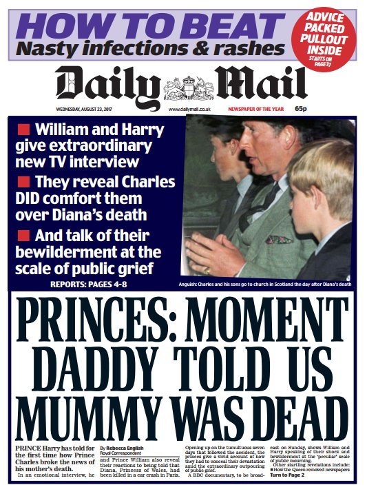 DAILY MAIL FRONT PAGE: 'Princes: Moment Daddy told us Mummy was dead' #skypapers