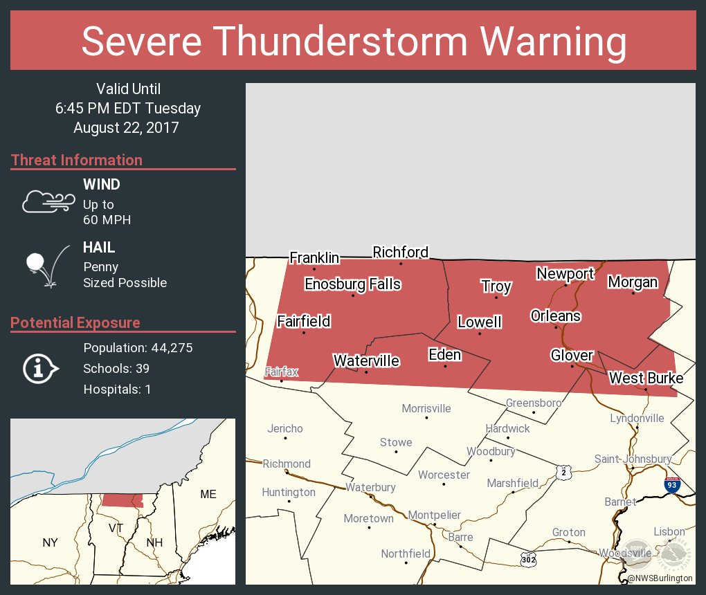 test Twitter Media - Severe Thunderstorm Warning including Newport VT, Richford VT, Enosburg Falls VT until 6:45 PM EDT https://t.co/ulkfic429W