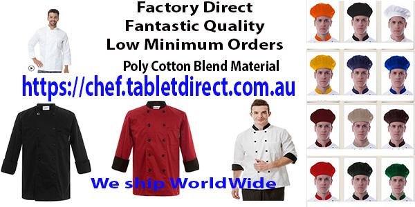 High #Quality #Chef wear at Factory direct Prices. #food #cooking #new Check it OUT    https:// chef.tabletdirect.com.au  &nbsp;  <br>http://pic.twitter.com/BckQTSP0an