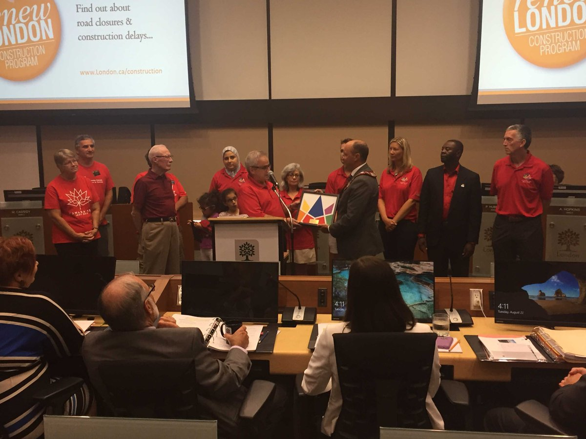 London Celebrates Canada recognized today by #LdnOnt #CityCouncil for 8 yrs vol svc. @CelebrateCanada #Canada150  <br>http://pic.twitter.com/sE8HJYdRfP