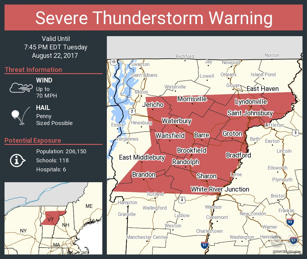 test Twitter Media - Severe Thunderstorm Warning including Barre VT, Montpelier VT, Saint Johnsbury VT until 7:45 PM EDT https://t.co/FpkaNBwLMG