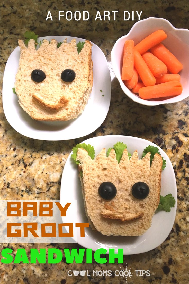 Baby Groot Sandwich-A #Food Art #DIY to Celebrate #GuardiansoftheGalaxyVol2 Out on Blu-ray http://coolmomscooltips.com/2017/08/baby-g   #d23expo  #adorable #lunch #yum #quicklunch
