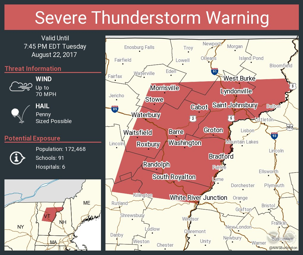 test Twitter Media - Severe Thunderstorm Warning continues for Barre VT, Montpelier VT, Saint Johnsbury VT until 7:45 PM EDT https://t.co/6CucXc2Sc0