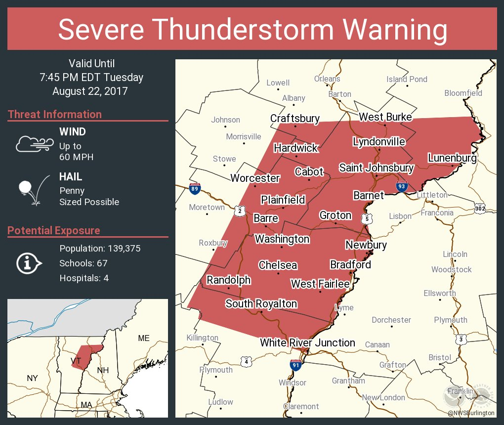 test Twitter Media - Severe Thunderstorm Warning continues for Barre VT, Montpelier VT, Saint Johnsbury VT until 7:45 PM EDT https://t.co/XDo227Pm0c