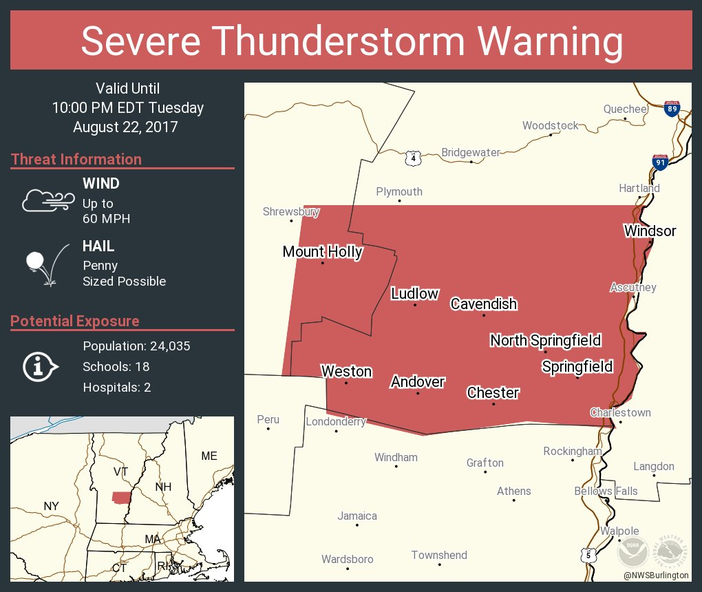 test Twitter Media - Severe Thunderstorm Warning including Springfield VT, Windsor VT, Chester VT until 10:00 PM EDT https://t.co/QfBpczdNIL