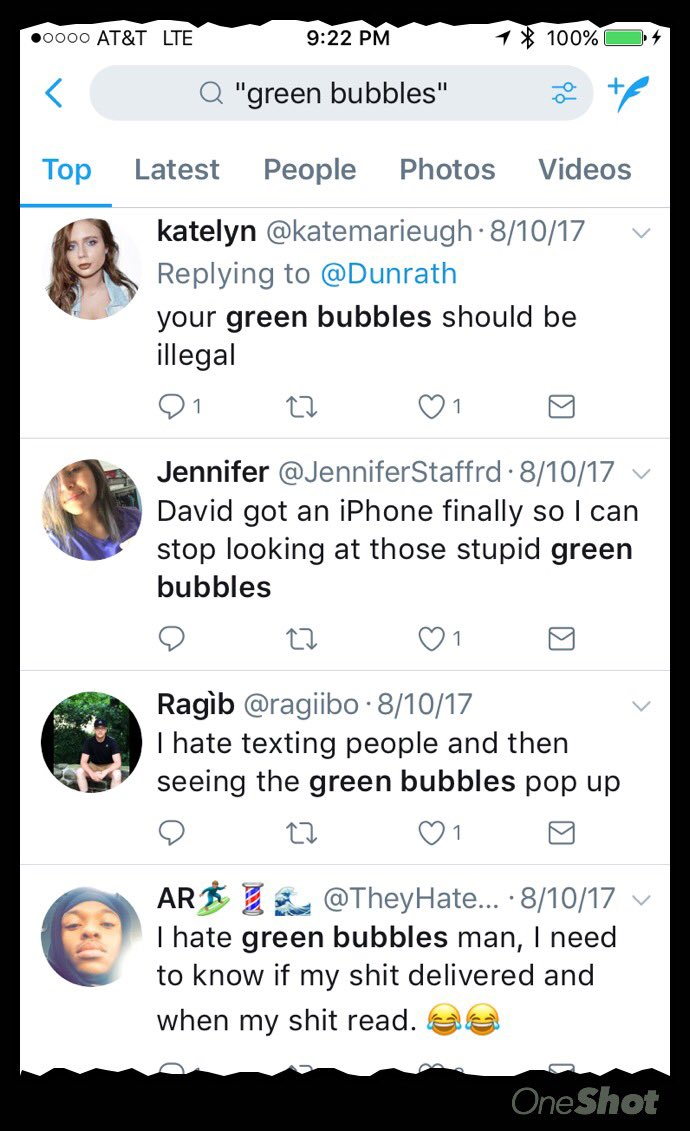 """@daringfireball @gruber As you once pointed out yourself, a Twitter search for """"green bubbles"""" never disappoints. https://t.co/8slbyvZ1CN"""