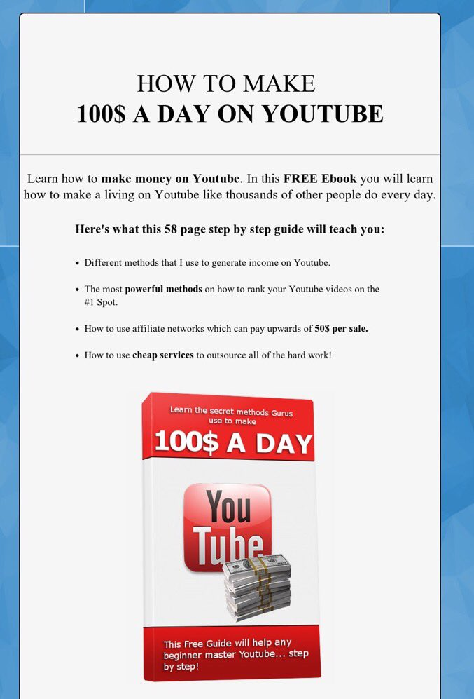 Learn how to #makemoney on #youtube!  Download this free #ebook now. #retweet  http:// spdyfl.com/bSPy  &nbsp;  <br>http://pic.twitter.com/OYhpdamxXn